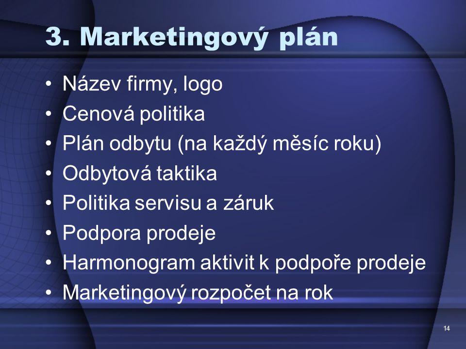 3. Marketingový plán Název firmy, logo Cenová politika