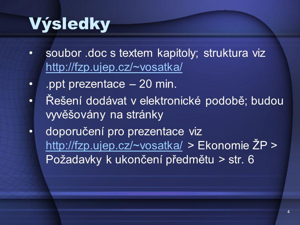 Výsledky soubor .doc s textem kapitoly; struktura viz http://fzp.ujep.cz/~vosatka/ .ppt prezentace – 20 min.