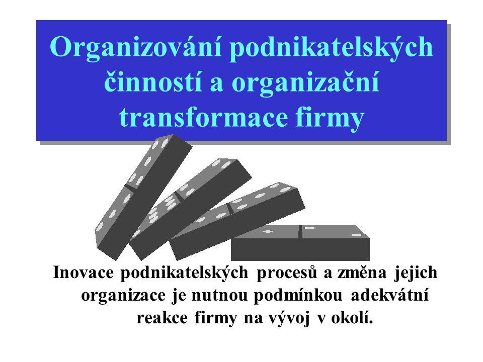 Organizování podnikatelských činností a organizační transformace firmy