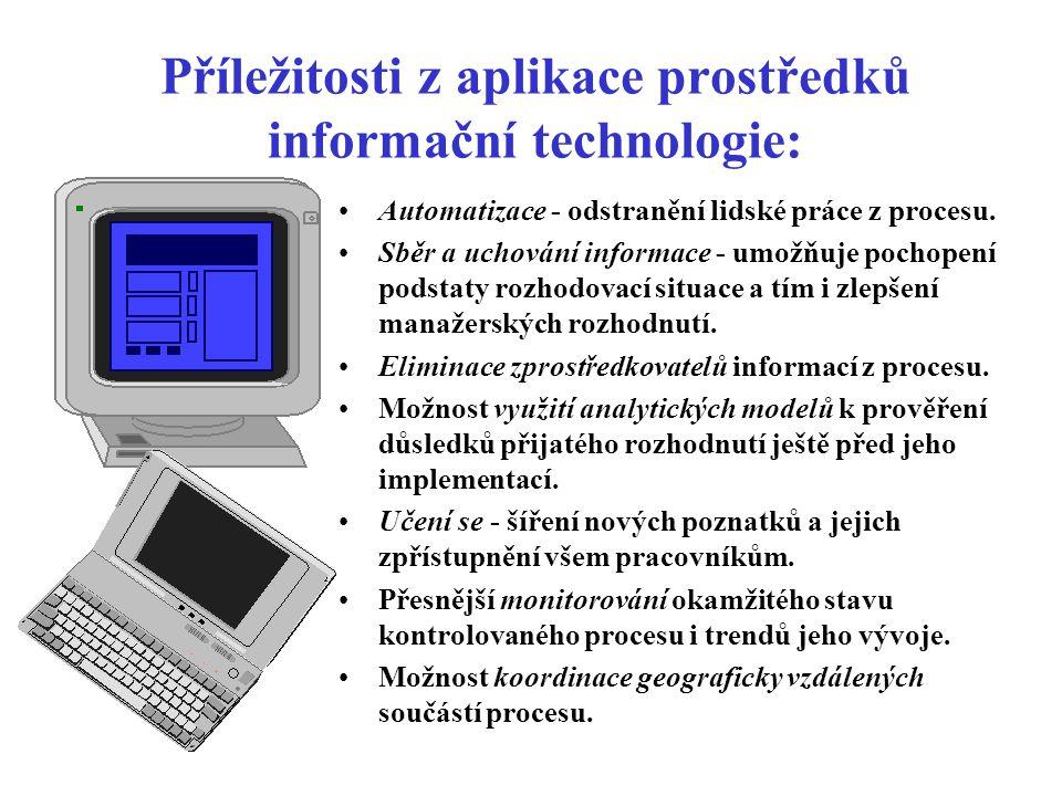 Příležitosti z aplikace prostředků informační technologie: