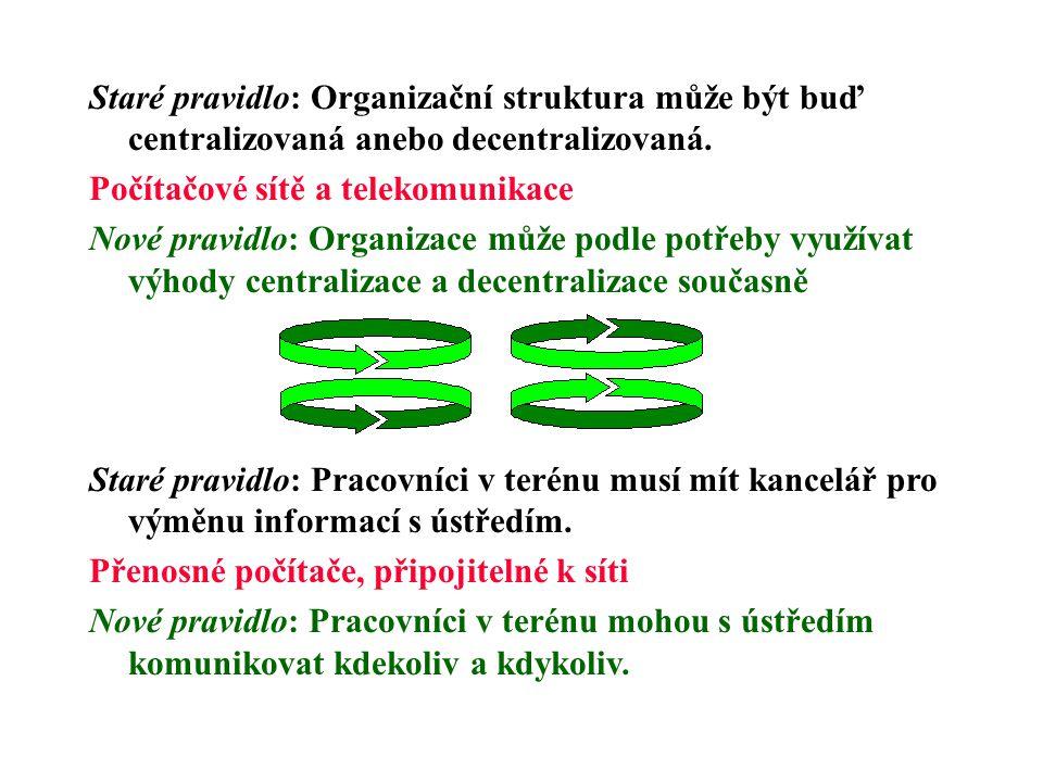 Staré pravidlo: Organizační struktura může být buď centralizovaná anebo decentralizovaná.