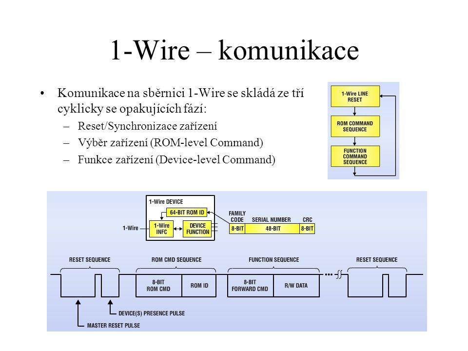 1-Wire – komunikace Komunikace na sběrnici 1-Wire se skládá ze tří cyklicky se opakujících fází: Reset/Synchronizace zařízení.