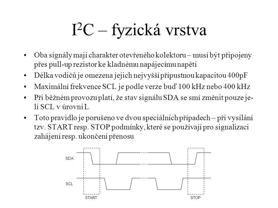 I2C – fyzická vrstva Oba signály mají charakter otevřeného kolektoru – musí být připojeny přes pull-up rezistor ke kladnému napájecímu napětí.