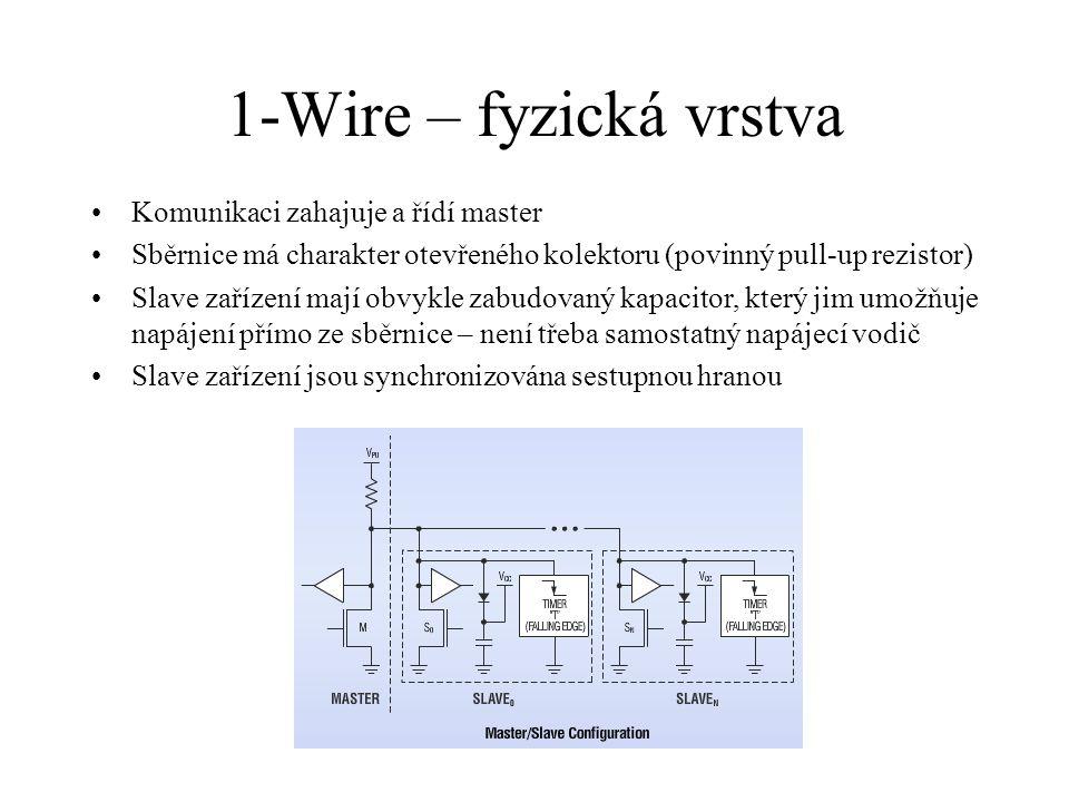 1-Wire – fyzická vrstva Komunikaci zahajuje a řídí master