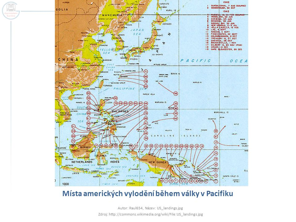 Místa amerických vylodění během války v Pacifiku