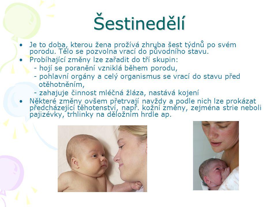 Šestinedělí Je to doba, kterou žena prožívá zhruba šest týdnů po svém porodu. Tělo se pozvolna vrací do původního stavu.