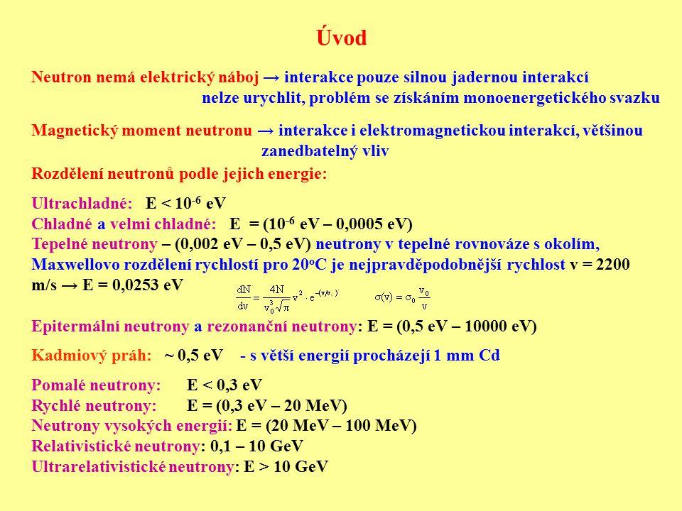 Úvod Neutron nemá elektrický náboj → interakce pouze silnou jadernou interakcí. nelze urychlit, problém se získáním monoenergetického svazku.