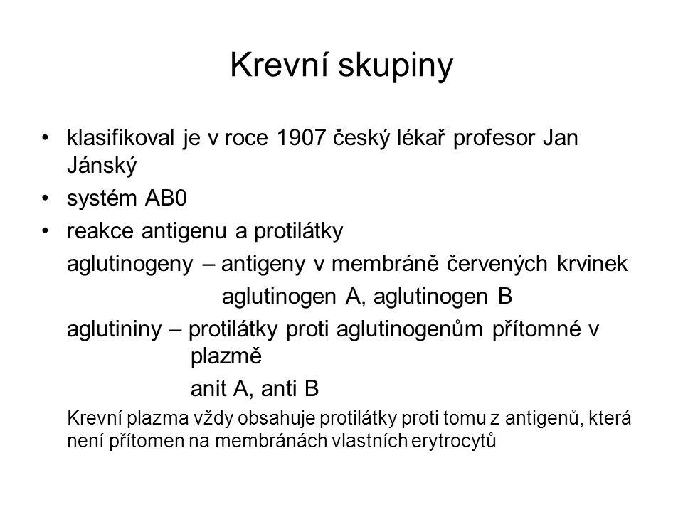 Krevní skupiny klasifikoval je v roce 1907 český lékař profesor Jan Jánský. systém AB0. reakce antigenu a protilátky.
