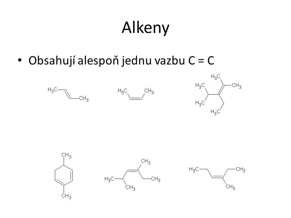 Alkeny Obsahují alespoň jednu vazbu C = C