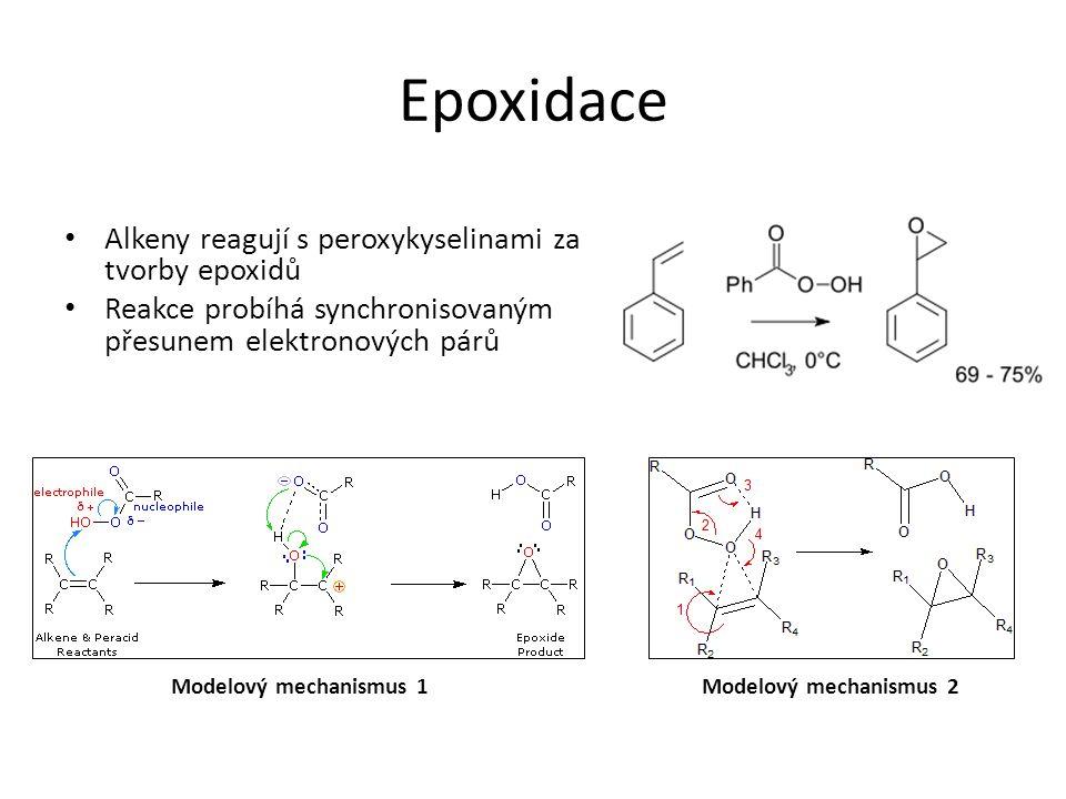 Epoxidace Alkeny reagují s peroxykyselinami za tvorby epoxidů