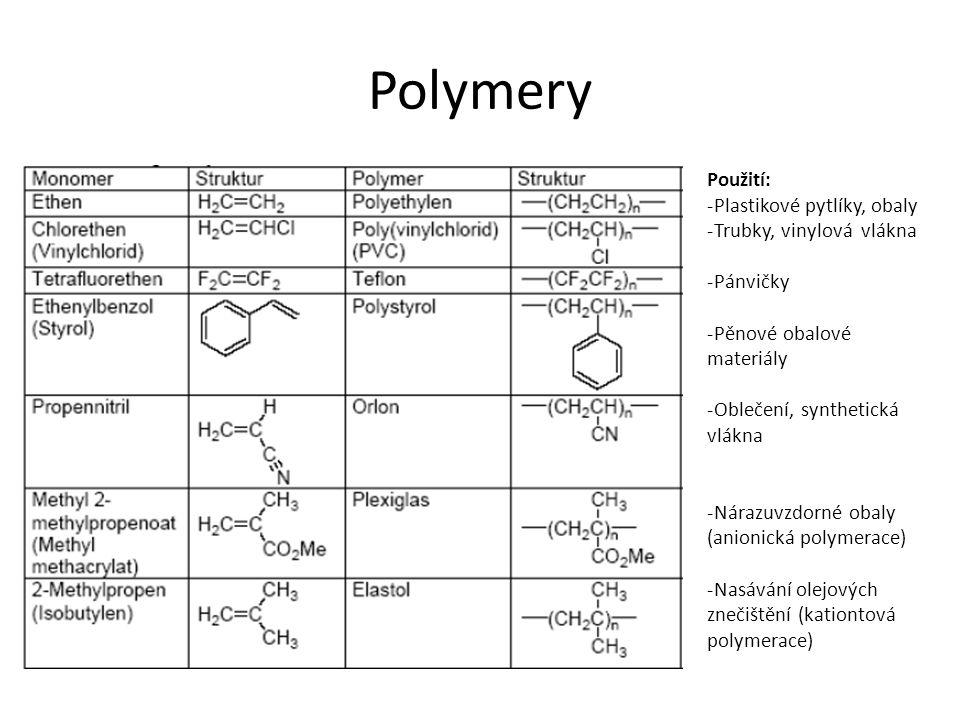 Polymery Použití: Plastikové pytlíky, obaly Trubky, vinylová vlákna