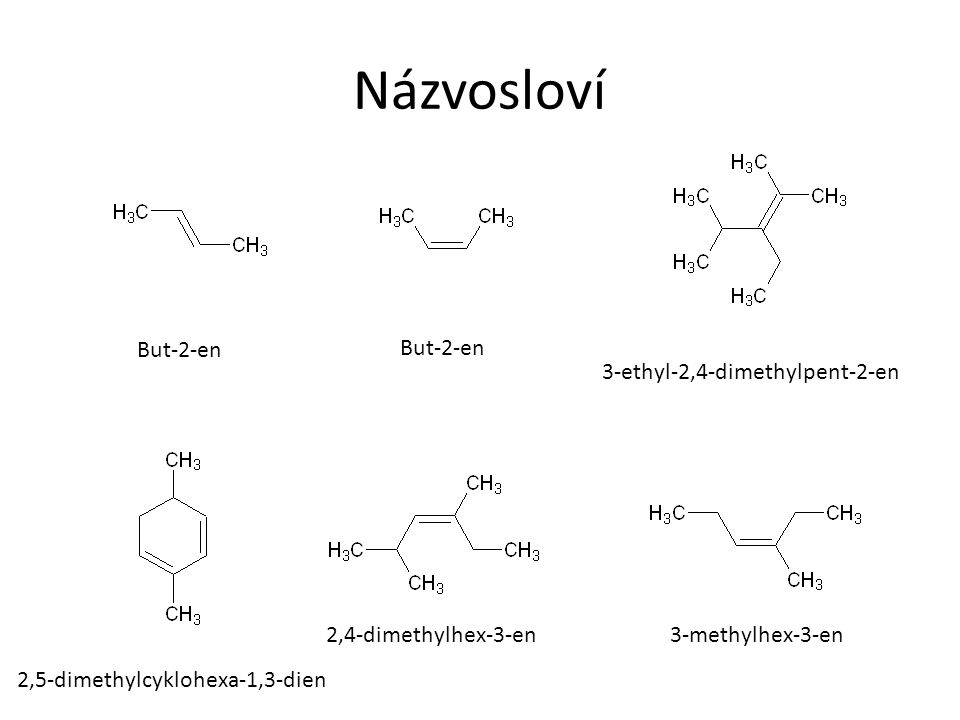 Názvosloví But-2-en But-2-en 3-ethyl-2,4-dimethylpent-2-en