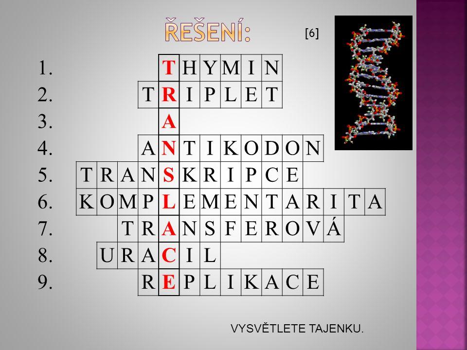 řešení: 1. T H Y M I N 2. R P L E 3. A 4. K O D 5. S C 6. 7. F V Á 8.