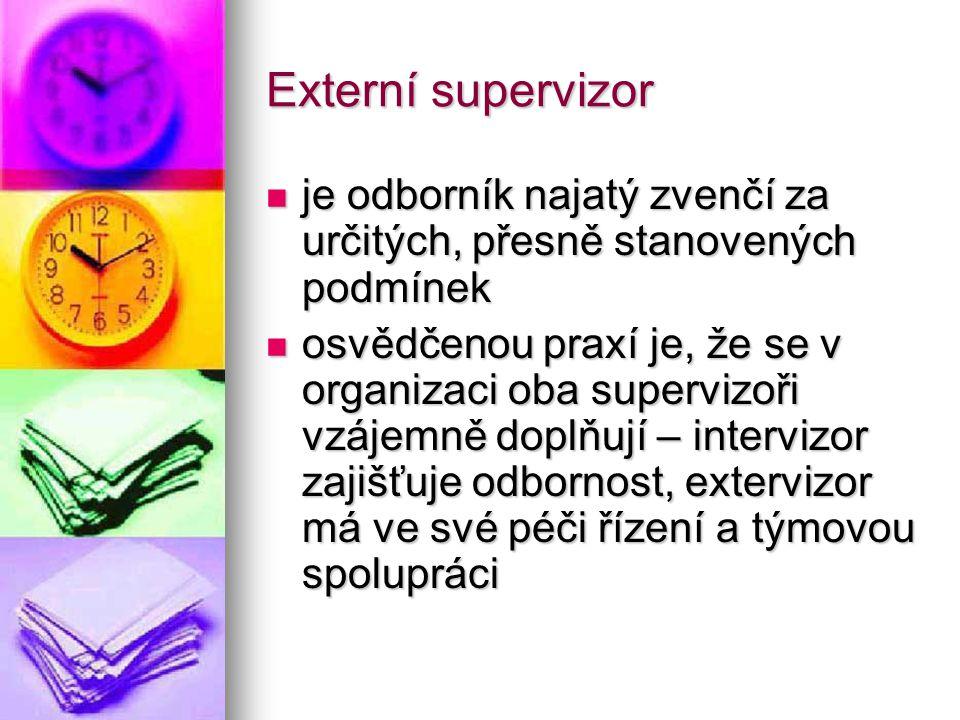 Externí supervizor je odborník najatý zvenčí za určitých, přesně stanovených podmínek.