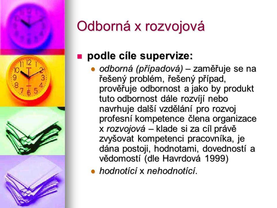 Odborná x rozvojová podle cíle supervize: