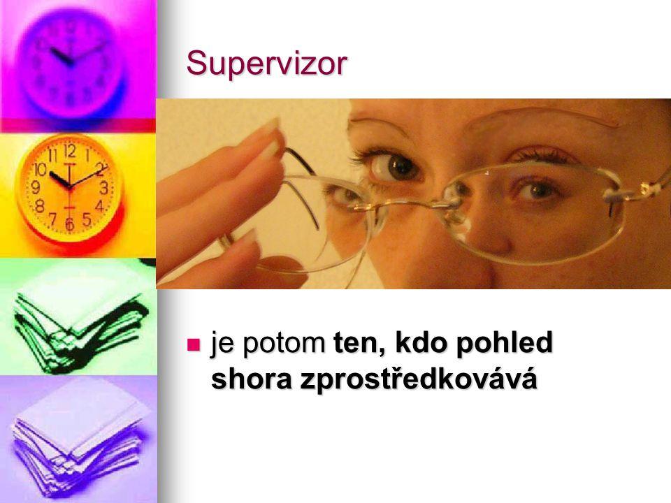 Supervizor je potom ten, kdo pohled shora zprostředkovává