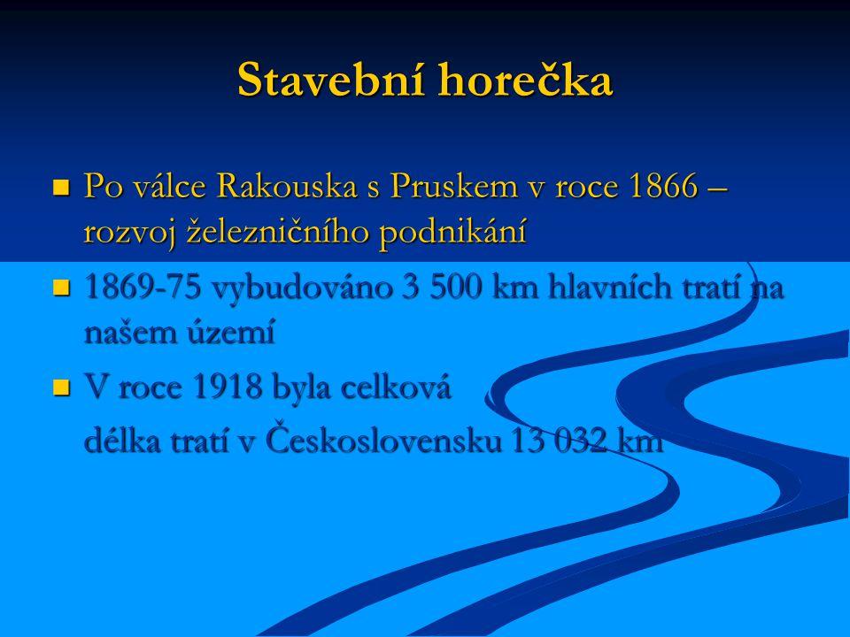 Stavební horečka Po válce Rakouska s Pruskem v roce 1866 – rozvoj železničního podnikání. 1869-75 vybudováno 3 500 km hlavních tratí na našem území.