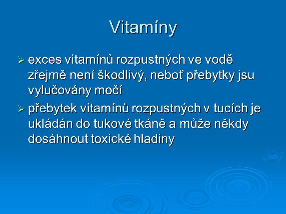 Vitamíny exces vitamínů rozpustných ve vodě zřejmě není škodlivý, neboť přebytky jsu vylučovány močí.