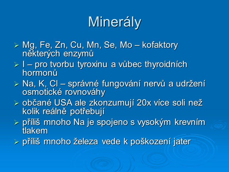 Minerály Mg, Fe, Zn, Cu, Mn, Se, Mo – kofaktory některých enzymů