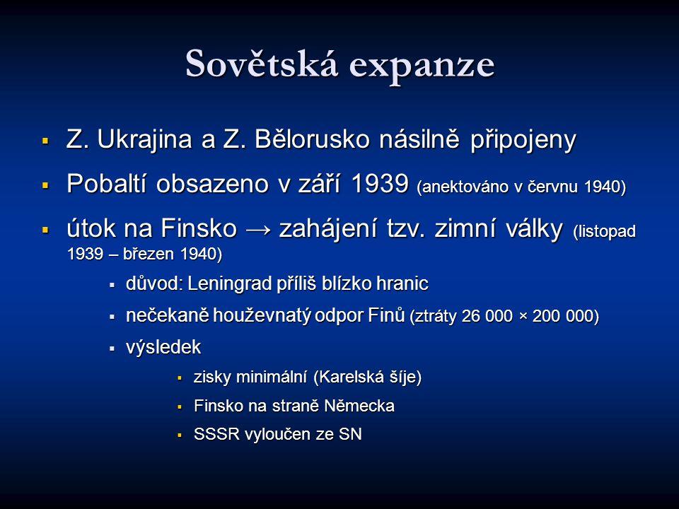 Sovětská expanze Z. Ukrajina a Z. Bělorusko násilně připojeny
