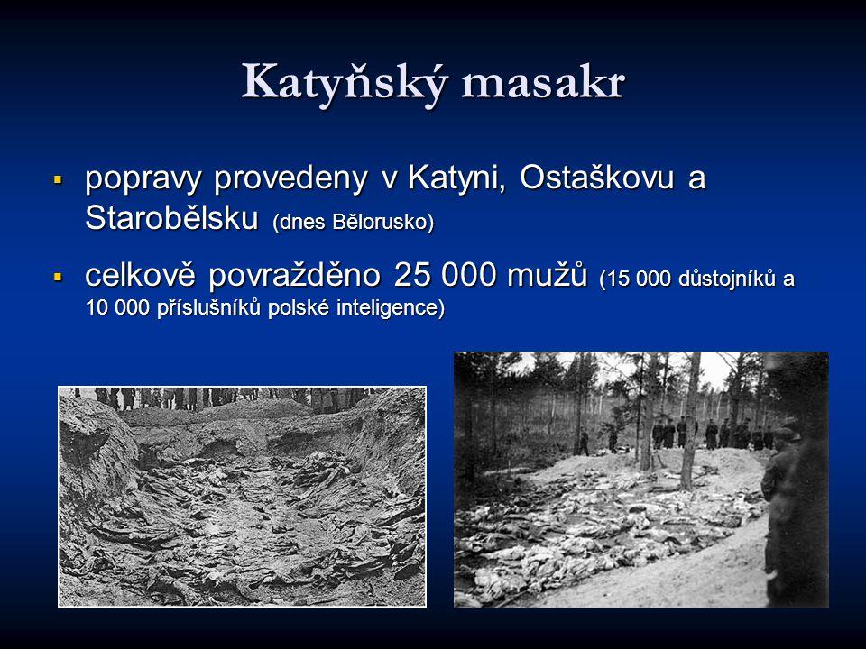 Katyňský masakr popravy provedeny v Katyni, Ostaškovu a Starobělsku (dnes Bělorusko)