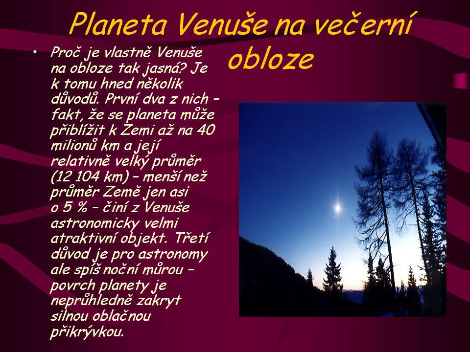 Planeta Venuše na večerní obloze