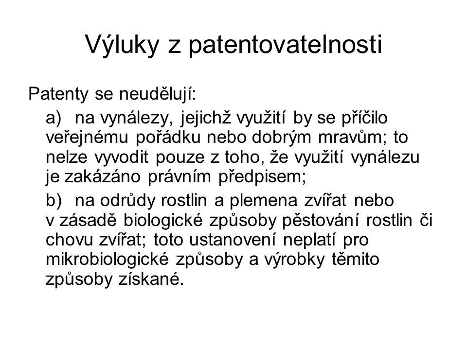 Výluky z patentovatelnosti