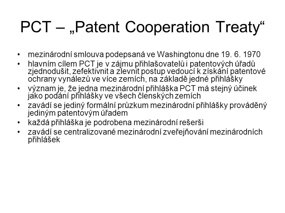 "PCT – ""Patent Cooperation Treaty"