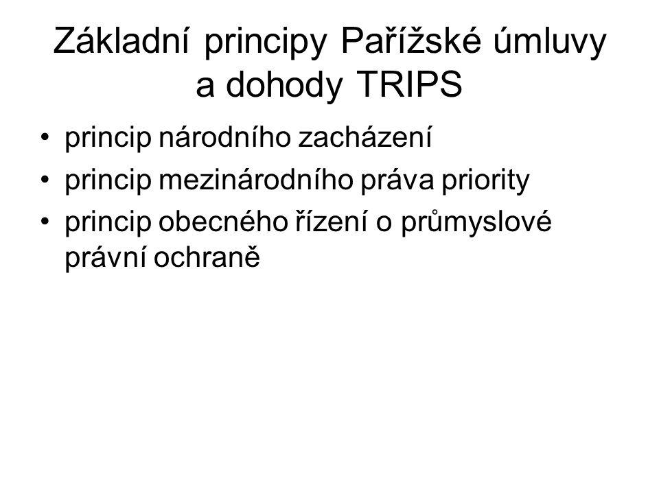 Základní principy Pařížské úmluvy a dohody TRIPS
