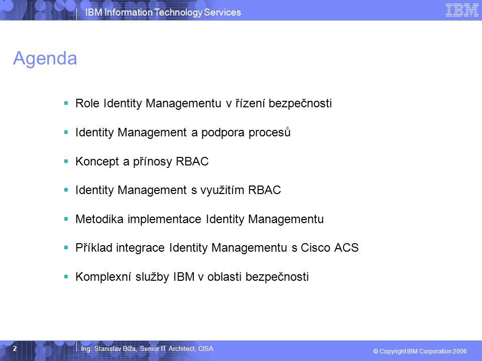 Agenda Role Identity Managementu v řízení bezpečnosti