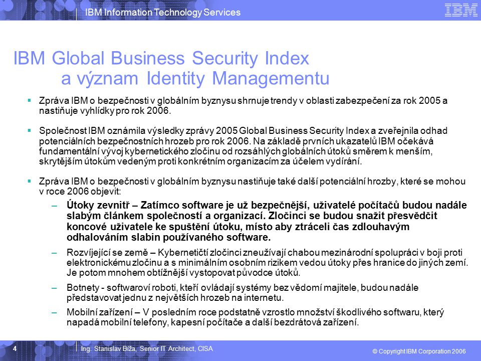 IBM Global Business Security Index a význam Identity Managementu