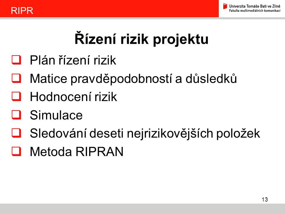 Řízení rizik projektu Plán řízení rizik