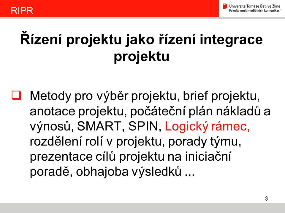 Řízení projektu jako řízení integrace projektu