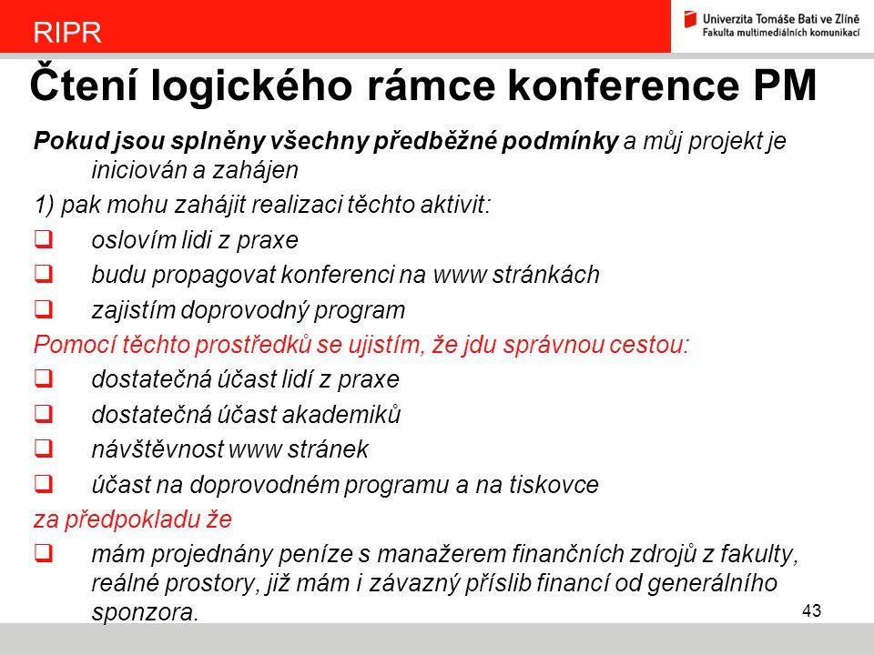 Čtení logického rámce konference PM