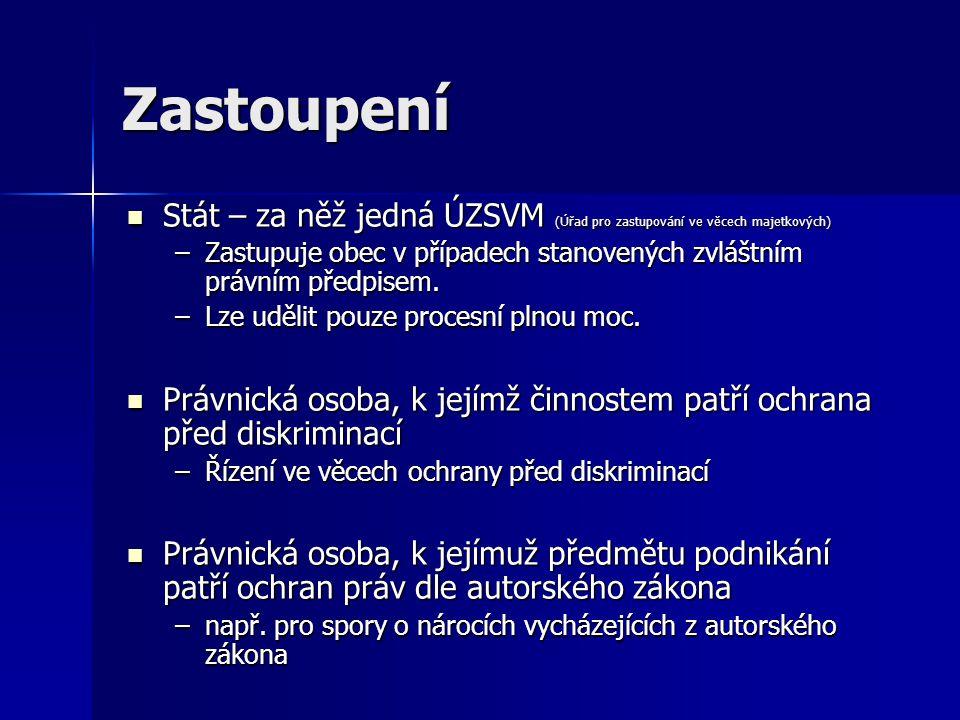 Zastoupení Stát – za něž jedná ÚZSVM (Úřad pro zastupování ve věcech majetkových)