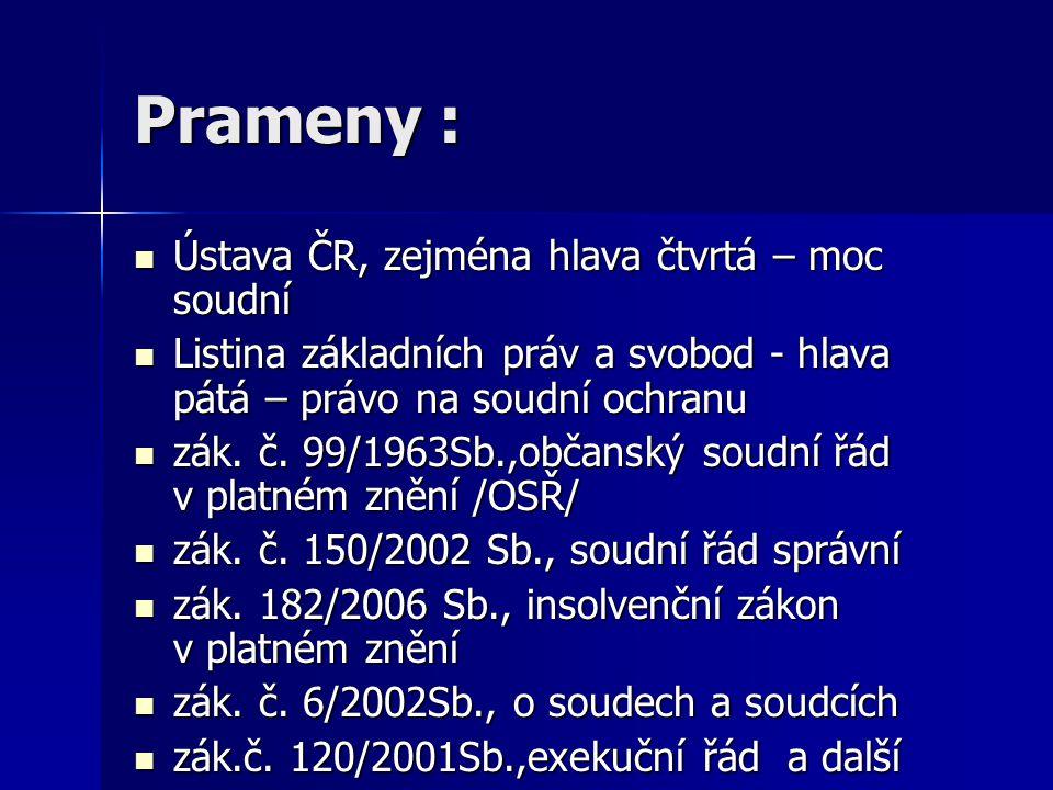 Prameny : Ústava ČR, zejména hlava čtvrtá – moc soudní