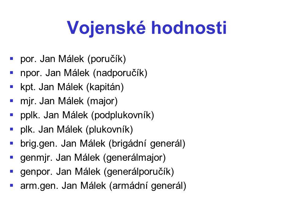 Vojenské hodnosti por. Jan Málek (poručík)