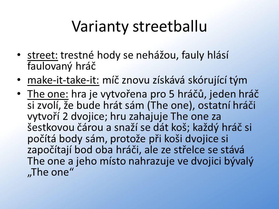Varianty streetballu street: trestné hody se nehážou, fauly hlásí faulovaný hráč. make-it-take-it: míč znovu získává skórující tým.