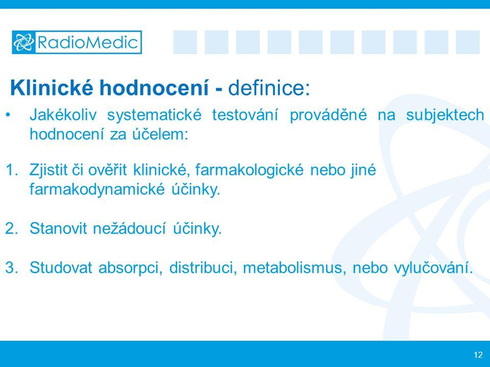 Klinické hodnocení - definice: