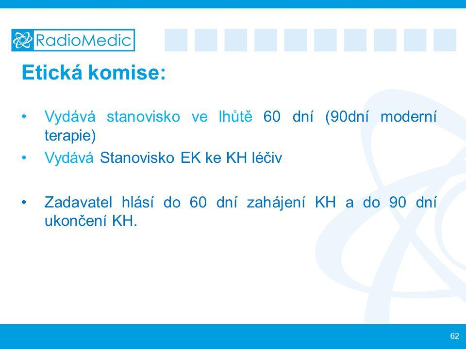 Etická komise: Vydává stanovisko ve lhůtě 60 dní (90dní moderní terapie) Vydává Stanovisko EK ke KH léčiv.