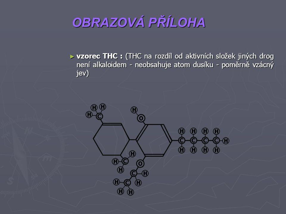 OBRAZOVÁ PŘÍLOHA vzorec THC : (THC na rozdíl od aktivních složek jiných drog není alkaloidem - neobsahuje atom dusíku - poměrně vzácný jev)