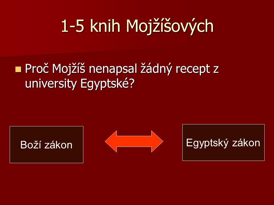 1-5 knih Mojžíšových Proč Mojžíš nenapsal žádný recept z university Egyptské.