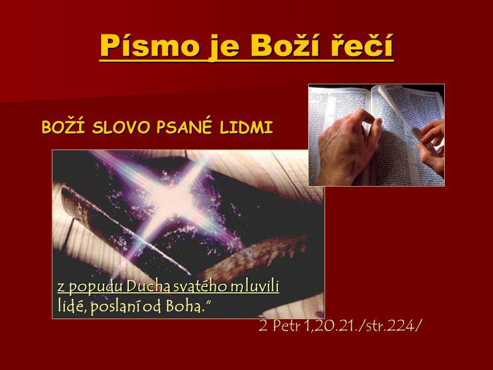 Písmo je Boží řečí BOŽÍ SLOVO PSANÉ LIDMI