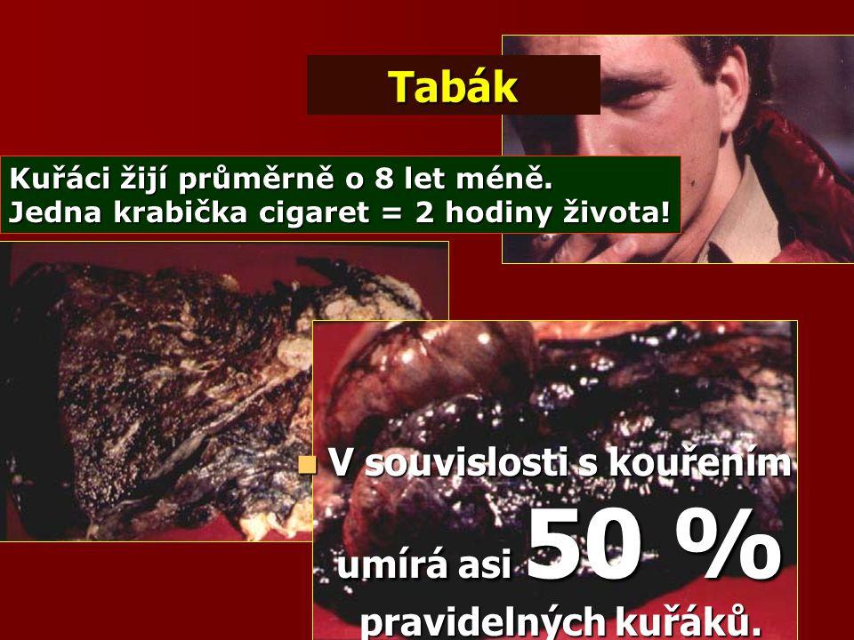 V souvislosti s kouřením umírá asi 50 % pravidelných kuřáků.