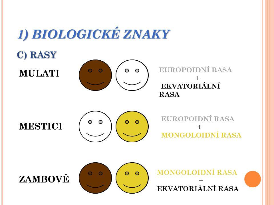 1) BIOLOGICKÉ ZNAKY C) RASY MULATI MULATI MESTICI MESTICI ZAMBOVÉ