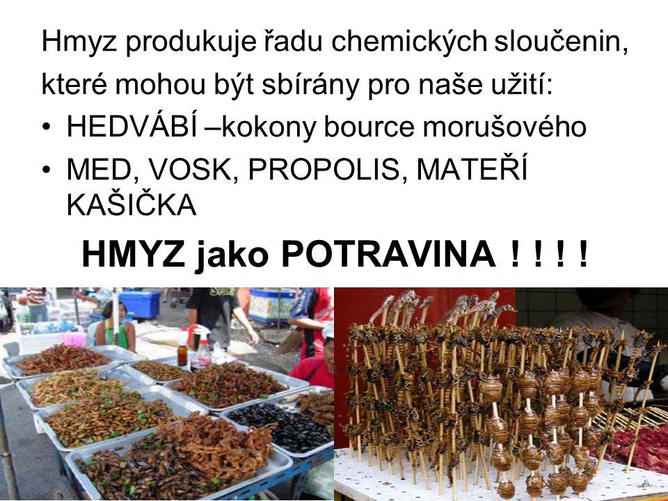 HMYZ jako POTRAVINA ! ! ! ! Hmyz produkuje řadu chemických sloučenin,