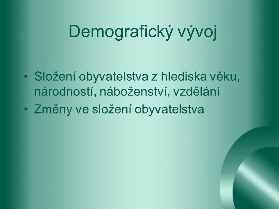 Demografický vývoj Složení obyvatelstva z hlediska věku, národností, náboženství, vzdělání.