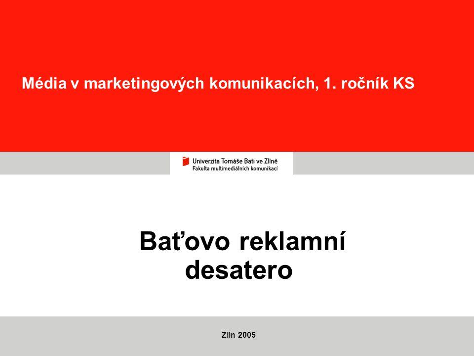 Média v marketingových komunikacích, 1. ročník KS