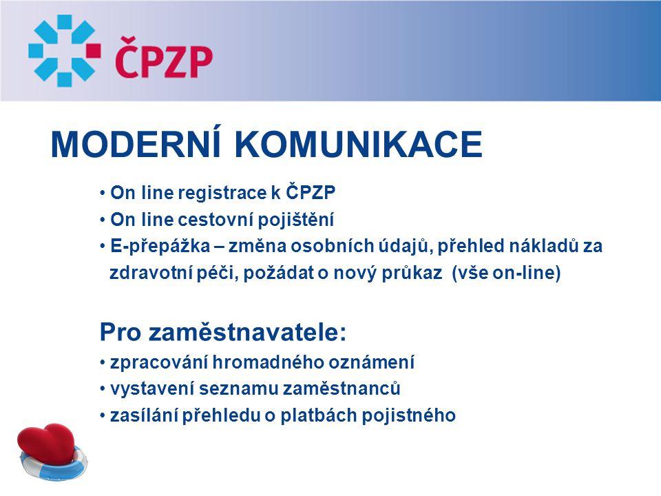 Moderní komunikace Pro zaměstnavatele: On line registrace k ČPZP