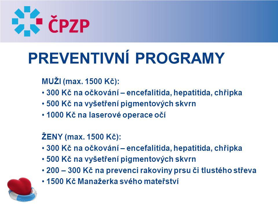 Preventivní programy MUŽI (max. 1500 Kč):
